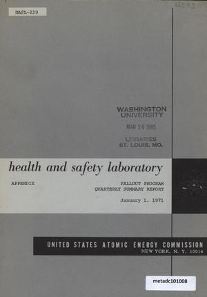 Primary view of object titled 'Health and Safety Laboratory Fallout Program Quarterly Summary Report: September 1, 1970 - December 1, 1970, Appendix'.