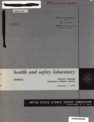 Primary view of object titled 'Health and Safety Laboratory Fallout Program Quarterly Summary Report: September 1, 1973 - December 1, 1973, Appendix'.