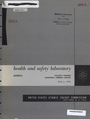 Primary view of object titled 'Health and Safety Laboratory Fallout Program Quarterly Summary Report: March 1, 1974 - June 1, 1974, Appendix'.