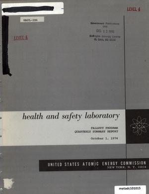 Primary view of object titled 'Health and Safety Laboratory Fallout Program Quarterly Summary Report: June 1, 1974 - September 1, 1974'.
