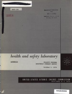 Primary view of object titled 'Health and Safety Laboratory Fallout Program Quarterly Summary Report: June 1, 1974 - September 1, 1974, Appendix'.