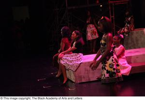 Primary view of object titled '[Actresses performing at Aretha: The Musical]'.