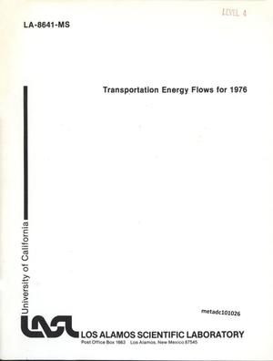 Primary view of object titled 'Transportation Energy Flows for 1976'.