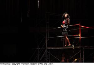 Primary view of object titled '[Actress performing a number from Aretha: The Musical]'.
