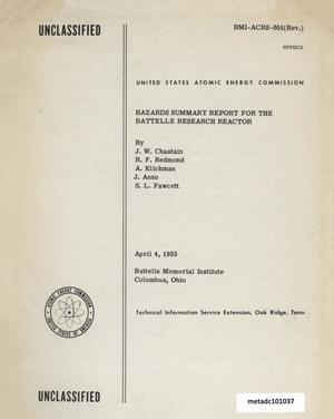 Primary view of object titled 'Hazards Summary Report for the Battelle Research Reactor'.