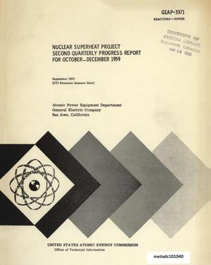 Primary view of object titled 'Nuclear Superheat Quarterly Project Report: Second Quarter, October-December 1959'.
