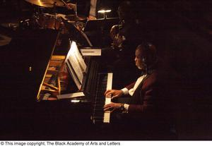 Primary view of object titled '[Piano player in the pit]'.