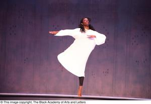 Primary view of object titled '[Dancer in white on stage]'.
