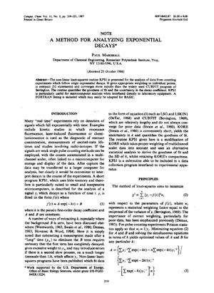 Primary view of object titled 'A Method for Analyzing Exponential Decays'.