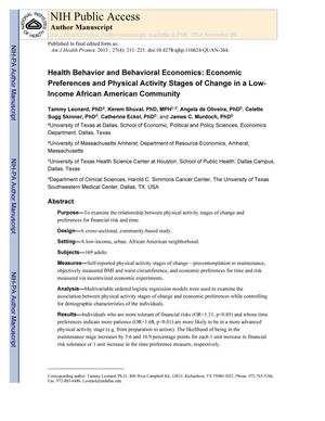 Primary view of object titled 'Health Behavior and Behavioral Economics: Economic Preferences and Physical Activity Stages of Change in a Low-Income African American Community'.