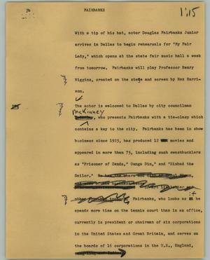 Primary view of object titled '[News Script: Fairbanks]'.