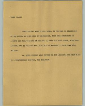 Primary view of object titled '[News Script: Three Deaths]'.