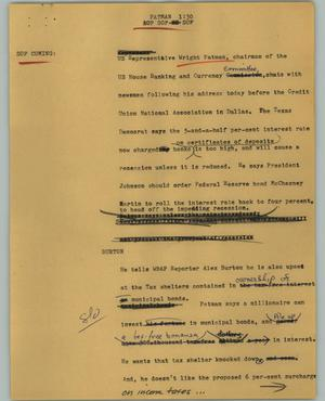 Primary view of object titled '[News Script: Patman]'.