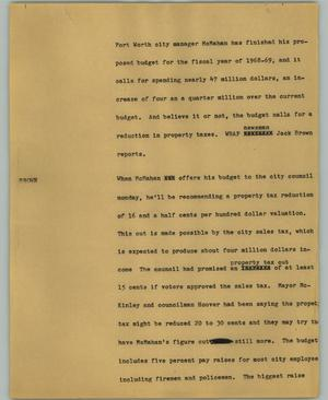 Primary view of object titled '[News Script: McMahan]'.