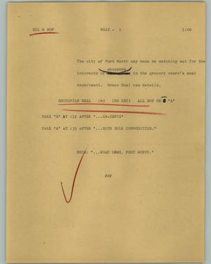 Primary view of object titled '[News Script: Meat]'.