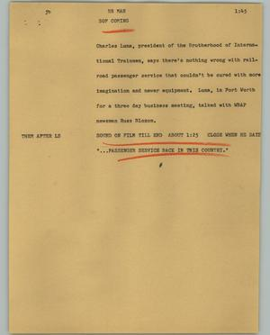 Primary view of object titled '[News Script: RR man]'.