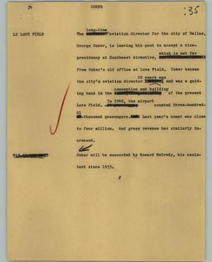 Primary view of object titled '[News Script: Coker]'.