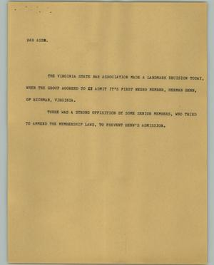 Primary view of object titled '[News Script: Bar Assn.]'.