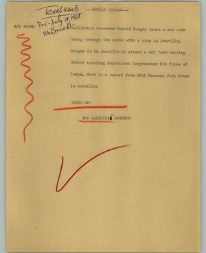 Primary view of object titled '[News Script: Ronald Reagan]'.