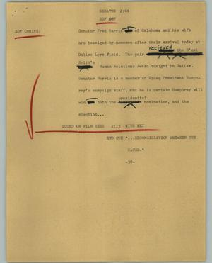 Primary view of object titled '[News Script: Senator]'.