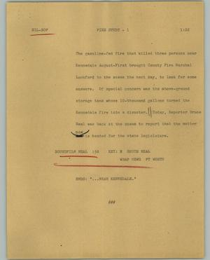 Primary view of object titled '[News Script: Fire study]'.