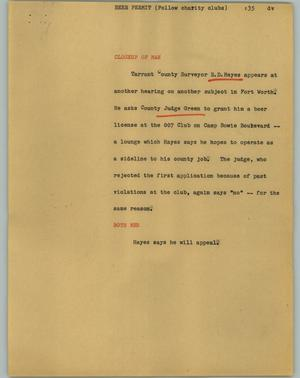 Primary view of object titled '[News Script: Beer permit]'.