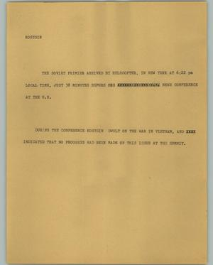 Primary view of object titled '[News Script: Kosygin]'.
