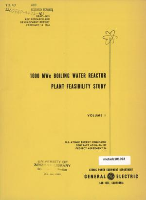 Primary view of object titled '1000 MegaWatt Boiling Water Reactor Plant Feasibility Study: Volume 1'.