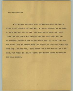Primary view of object titled '[News Script: Ft. Worth Shooting]'.