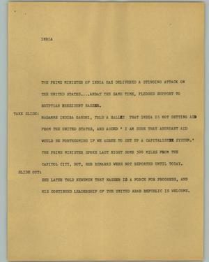 Primary view of object titled '[News Script: India]'.
