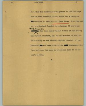 Primary view of object titled '[News Script: Lena Pope]'.