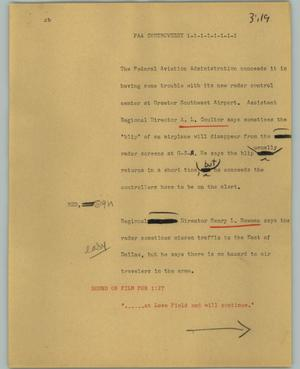 Primary view of object titled '[News Script: FAA controversy]'.