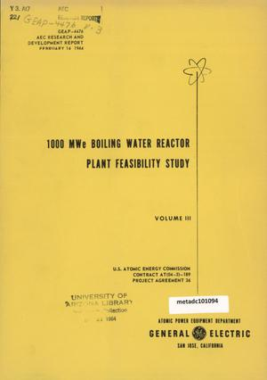 Primary view of object titled '1000 MegaWatt Boiling Water Reactor Plant Feasibility Study: Volume 3'.
