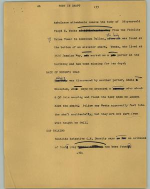 Primary view of object titled '[News Script: Body in shaft]'.
