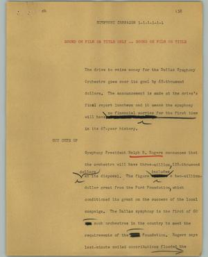 Primary view of object titled '[News Script: Symphony Campaign]'.