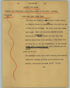 Primary view of object titled '[News Script: Evacuation]'.