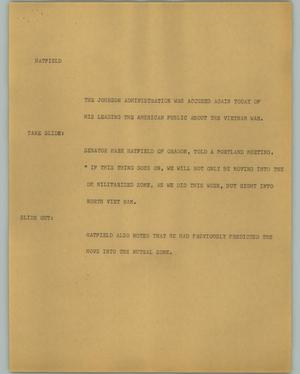 Primary view of object titled '[News Script: Hatfield]'.