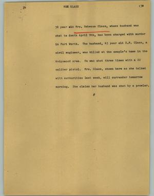 Primary view of object titled '[News Script: Mrs. Glass]'.