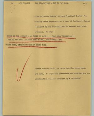 Primary view of object titled '[News Script: Jr College]'.