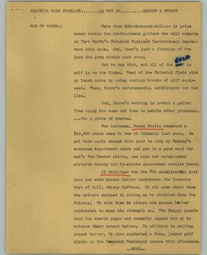 Primary view of object titled '[News Script: Colonial golf stand-up]'.