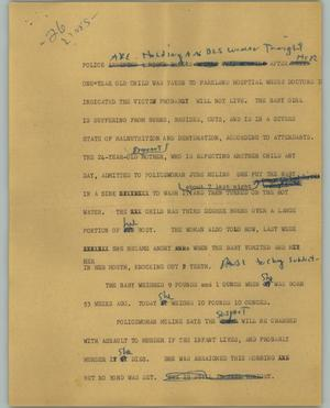 Primary view of object titled '[News Script: Assault to murder]'.