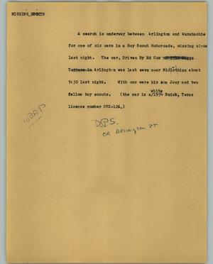 Primary view of object titled '[News Script: Missing scouts]'.