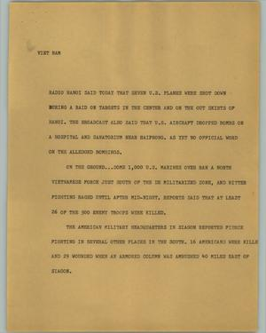 Primary view of object titled '[News Script: Vietnam]'.