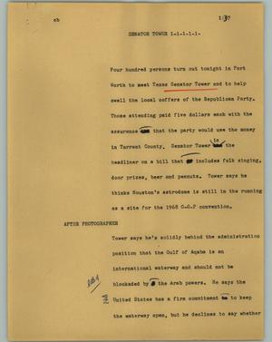Primary view of object titled '[News Script: Senator Tower]'.