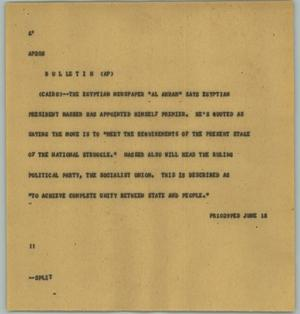 Primary view of object titled '[News Script: Nasser]'.