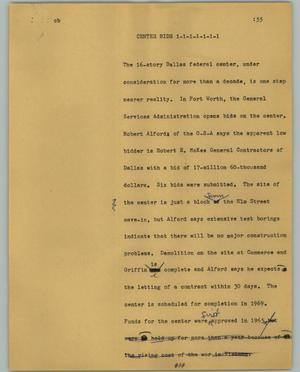 Primary view of object titled '[News Script: Center Bids]'.