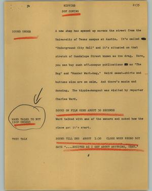 Primary view of object titled '[News Script: Hippies]'.