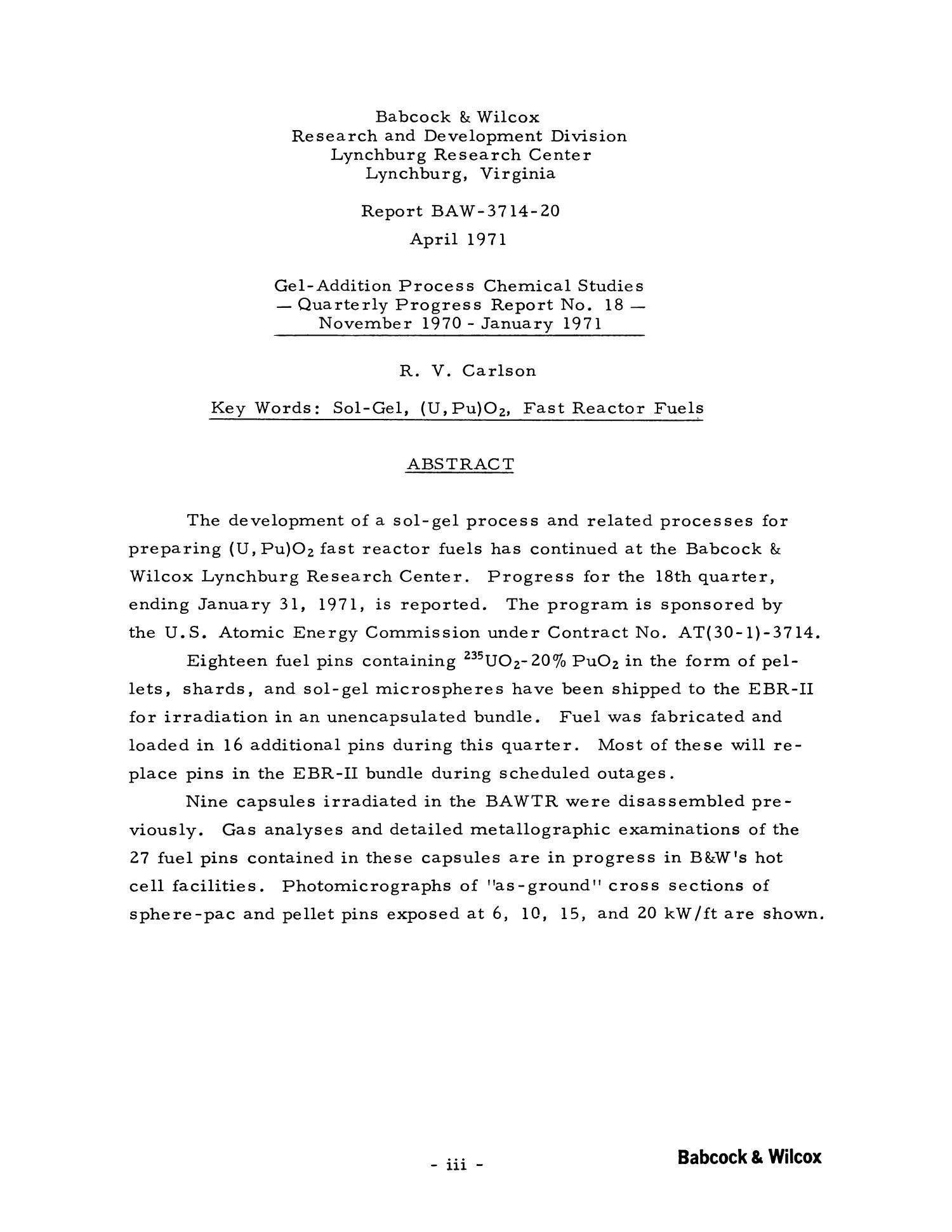 Gel-Addition Process Chemical Studies: Quarterly Progress Report Number 18, November 1970 - January 1971                                                                                                      III
