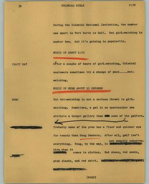 Primary view of object titled '[News Script: Colonial girls]'.