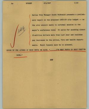 Primary view of object titled '[News Script: Budget]'.